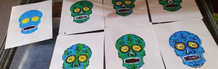 Sugar Skull zeefdruk van Pascal