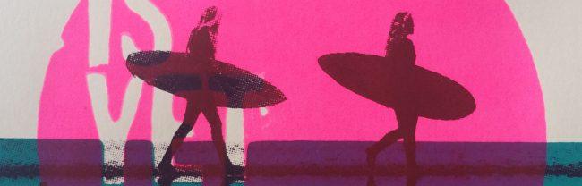 Surfposter, zeefdruk van Anne